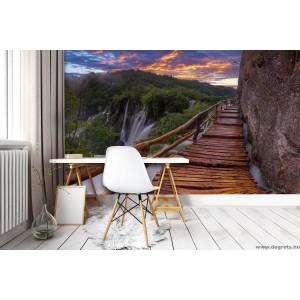 Fotótapéta Híd a vízesés mellett L