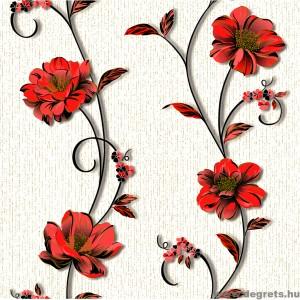Tapéta simplex Demi fehér-piros