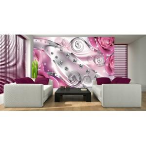 Fotótapéta rózsaszín virágos gyémánt 3D XL