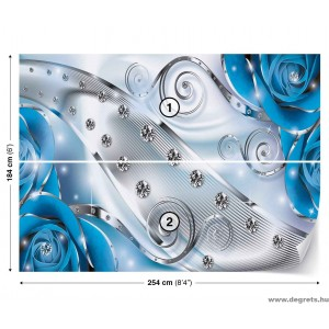 Fotótapéta kék virágos gyémánt 3D