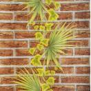 Tapéta vízálló Tégla pálmával barna