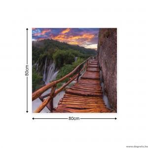 Vászonkép Híd a vízesés mellett