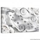 Vászonkép fehér virágos gyémánt 3D S