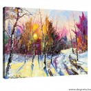 Vászonkép Tél  - erdő tájkép  S