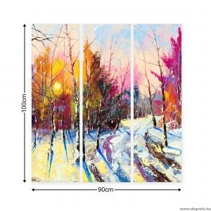 Vászonkép szett 3 darabos Tél  - erdő tájkép