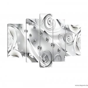 Vászonkép szett 5 darabos fehér virágos gyémánt 3D