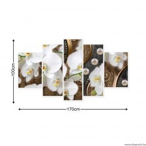 Vászonkép szett 5 darabos absztrakció orchideák 8 3D