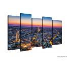 Vászonkép szett 5 darabos Napnyugta Párizs felett