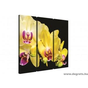 Vászonkép szett 3 darabos sárga Orchidea 3D