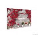 Vászonkép szett 4  darabos Fal  piros virágokkal  1