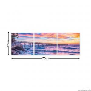 Vászonkép szett 3 darabos Napnyugta a tenger felett