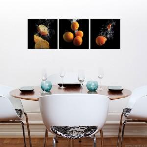 Vászonkép szett 3 darabos Narancsok 3D