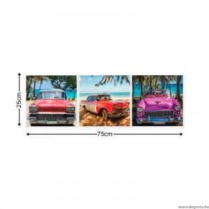 Vászonkép szett 3 darabos Retro autós
