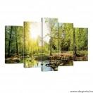 Vászonkép szett 5 darabos zöld erdő