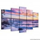 Vászonkép szett 5 darabos Napnyugta a tenger felett