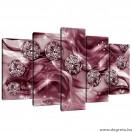 Vászonkép szett 5 darabos lila gyémánt 3D