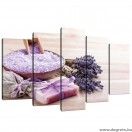 Vászonkép szett 5 darabos Levendula Pihenés
