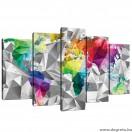 Vászonkép szett 5 darabos Világtérkép 3D