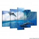 Vászonkép szett 5 darabos Delfinek a tengerben