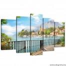 Vászonkép szett 5 darabos Panoráma kilátás  2 3D