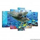 Vászonkép szett 5 darabos Delfinek 1