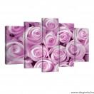 Vászonkép szett 5 darabos rózsaszín rózsák 1