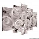 Vászonkép szett 5 darabos  Egy csokor fehér rózsa