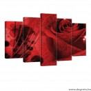 Vászonkép szett 5 darabos rózsa 3D absztrakció