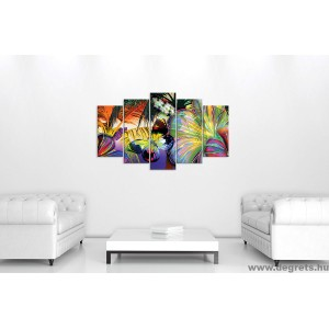 Vászonkép szett 5 darabos Virág pillangó