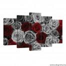 Vászonkép szett 5 darabos rózsák piros - szürke