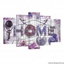 Vászonkép szett 5 darabos Hangulatos otthon  lila