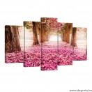 Vászonkép szett 5 darabos rózsaszín út