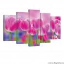 Vászonkép szett 5 darabos Tulipánok 2