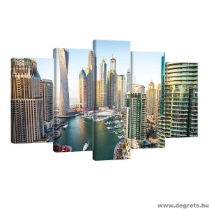 Vászonkép szett 5 darabos Dubai jachtkikötő