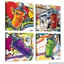 Vászonkép szett 4 darabos Graffiti