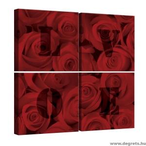 Vászonkép szett 4 darabos rózsák Szerelem  2