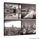 Vászonkép szett 4 darabos New York fekete és fehér 1