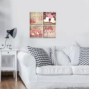 Vászonkép szett 4 darabos rózsák Szerelem  3