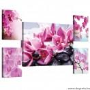 Vászonkép szett 5 darabos lila orchideák 2 3D