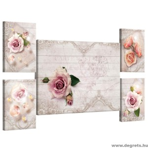 Vászonkép szett 5 darabos rózsák Vintázs  3D