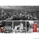 Vászonkép szett 4 darabos London fekete és fehér